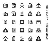buildings outline icons 3 | Shutterstock .eps vector #781464481