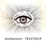 all seeing eye symbol. vision... | Shutterstock .eps vector #781470019