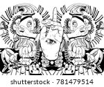 vector hand drawn illustration  ... | Shutterstock .eps vector #781479514
