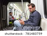 casual man reading from mobile... | Shutterstock . vector #781483759