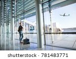young casual female traveler at ... | Shutterstock . vector #781483771