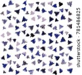 many embroidered blue triangles ... | Shutterstock .eps vector #781486825