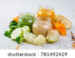 colorful baby food purees in... | Shutterstock . vector #781492429