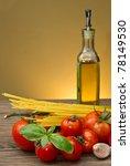 spaghetti ingredients on wood... | Shutterstock . vector #78149530
