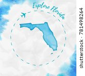 florida watercolor us state map ... | Shutterstock .eps vector #781498264
