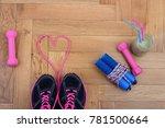 top view of fitness equipment... | Shutterstock . vector #781500664