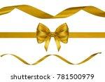 set of big golden silk... | Shutterstock . vector #781500979