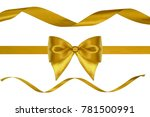 set of xmas golden silk... | Shutterstock . vector #781500991