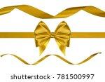 set of three glossy golden silk ... | Shutterstock . vector #781500997