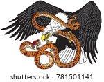 eagle fighting a snake serpent .... | Shutterstock .eps vector #781501141