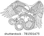 the battle of the eagle and the ...   Shutterstock .eps vector #781501675