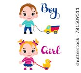cute little boy with a car and... | Shutterstock .eps vector #781509511