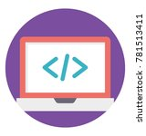 a laptop screen with html... | Shutterstock .eps vector #781513411