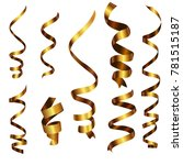 gold curly ribbon serpentine...   Shutterstock .eps vector #781515187