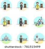 religion  multicolor icon set | Shutterstock .eps vector #781515499