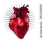 human heart in tattoo style.... | Shutterstock .eps vector #781518505