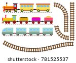 cartoon train with wagons and... | Shutterstock .eps vector #781525537