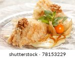 tasty pastry with caramel - stock photo