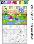 kids coloring vector children... | Shutterstock .eps vector #781543465