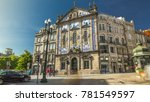 Small photo of View of the Almeida Garret Square near the Sao Bento railway station with Congregados Church at the front, Porto, Portugal.