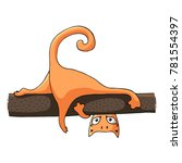 Stock vector an orange cat lies on a tree branch vector image in the style of a cartoon 781554397