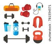 fitness icons set vector. sport ... | Shutterstock .eps vector #781554571