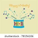 colorful drum happy birthday... | Shutterstock .eps vector #78156106