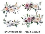 wedding bridal bouquet. green... | Shutterstock . vector #781562035