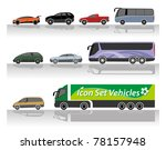 Set of vehicle icons - stock vector