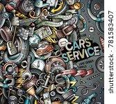 cartoon cute doodles vehicle... | Shutterstock .eps vector #781583407