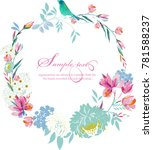 watercolor round frame with... | Shutterstock .eps vector #781588237