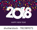 happy new year 2018 greeting... | Shutterstock . vector #781589371