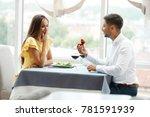 proposal in restaurant. man... | Shutterstock . vector #781591939