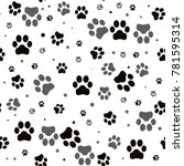 paw print seamless. traces of... | Shutterstock . vector #781595314