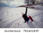 slip on the slippery ice and... | Shutterstock . vector #781601839