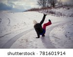 Small photo of Slip on the slippery ice and snow on the road track at the country in freezing winter day