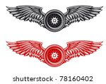 wheel with wings for tattoo or... | Shutterstock .eps vector #78160402