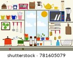 kitchen clip art. daily... | Shutterstock .eps vector #781605079