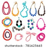 collection of women's necklaces ... | Shutterstock .eps vector #781625665