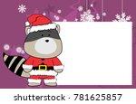 cute raccoon cartoon xmas frame ...   Shutterstock .eps vector #781625857