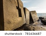 breakwater blocks in the port...   Shutterstock . vector #781636687