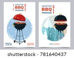 winter bbq party a4 invitation... | Shutterstock .eps vector #781640437