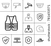 guard icons. set of 13 editable ...   Shutterstock .eps vector #781653571