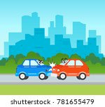 vector flat cartoon car