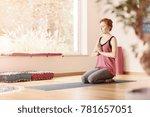 relaxed woman in pink t shirt... | Shutterstock . vector #781657051