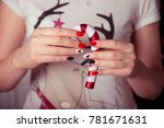 bullfinch manicure winter... | Shutterstock . vector #781671631