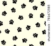 seamless pattern of dog paws.... | Shutterstock .eps vector #781672585