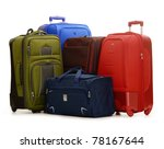Luggage consisting of four large suitcases and travel bag isolated on white - stock photo