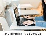 busy young girl brunette...   Shutterstock . vector #781684321