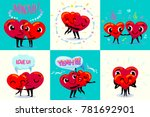 happy valentines day card set.... | Shutterstock .eps vector #781692901
